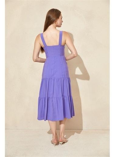 Setre Mor Kalın Askılı Midi Elbise Mor